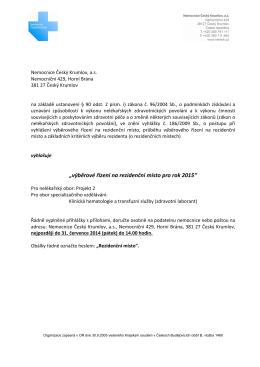 """""""výběrové řízení na rezidenční místo pro rok 2015"""""""