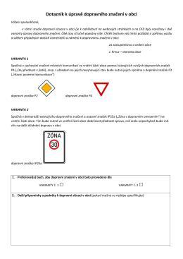 Dotazník k úpravě dopravního značení v obci