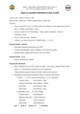 Zápis ze zasedání střediskové rady Junáka
