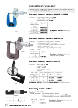 Mikrometry třmenové na plech a drát
