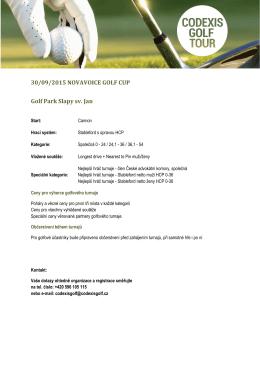 30/09/2015 NOVAVOICE GOLF CUP Golf Park Slapy sv. Jan