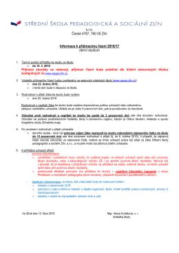 Informace k přijímacímu řízení denní studium