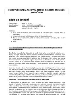 Zápis pracovní skupiny ze dne 15. 4. 2015