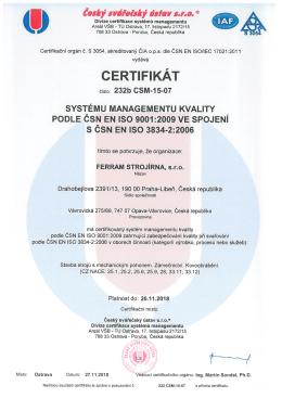 ertifikát ISO 9001,3834 CZ
