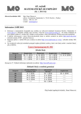 Informátor září - Gymnázium, Havířov