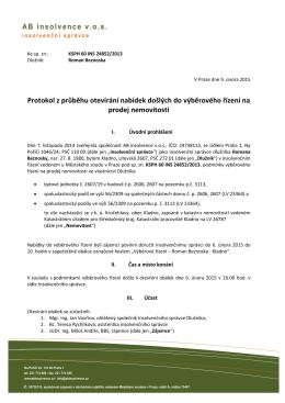 AB insolvence vos Protokol z průběhu otevírání nabídek došlých do