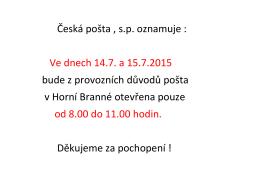 Informace České pošty