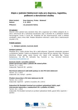 Zápis z jednání Sektorové rady pro dopravu, logistiku, poštovní a