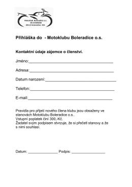 Přihláška do - Motoklubu Boleradice o.s.