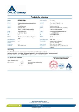 Protokol o zkoušce - Frýdlantská vodárenská společnost, as