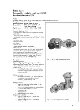 Pneumatická regulační klapka typ 3331