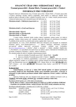 Informace FÚ k podáním daňových přiznání za rok 2014 ak platbám