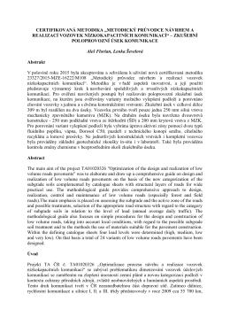Metodický průvodce návrhem a realizací vozovek nízkokapacitních