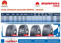 Ceník nákladních pneumatik SUNFULL