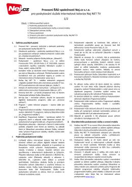 Provozní ŘÁD společnosti Nej.cz s.r.o. pro poskytování služeb