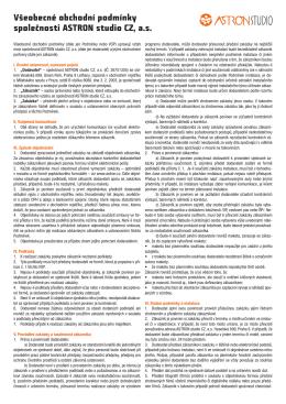 Všeobecné obchodní podmínky společnosti ASTRON studio CZ, a.s.