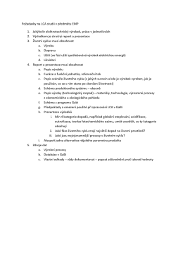 Požadavky na LCA studii v předmětu EMP 1. Jakýkoliv