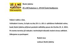 Školní jídelna ZŠ a MŠ Kubatova 1, 370 04 České Budějovice