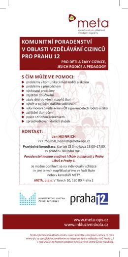 komunitní poradenství v oblasti vzdělávání cizinců pro prahu 12
