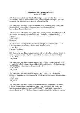 Usnesení z 17. zasedání Rady města Staré Město ze dne 27. 7. 2015