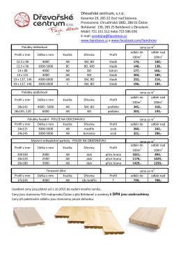 Ceník palubek a podlahovek - Dřevařské centrum sro | Fajn dřevo