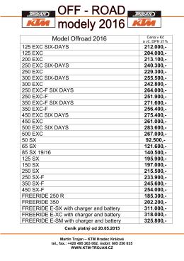 Ceník off-road KTM 2016 od 20.05.2015