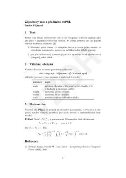 Zápočtový test z předmětu 01PSL 1 Text 2 Vkládání
