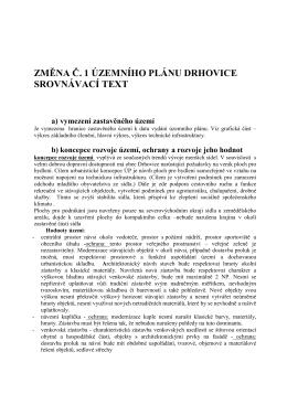 změna č. 1 územního plánu drhovice srovnávací text