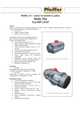 Pfeiffer AT – otočný čtvrtotáčkový pohon Série 31a Typ SRP a DAP