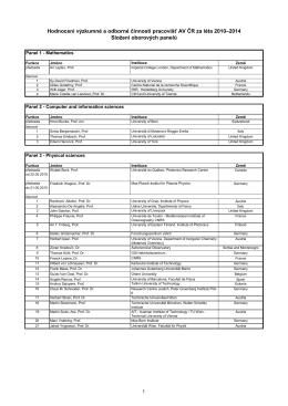 Složení oborových panelů podílejících se na I. fázi hodnocení