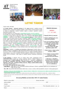 LETNÍ TÁBOR - ATS Domino