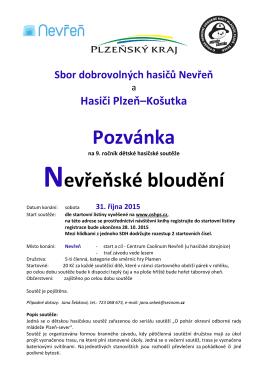 Pozvánka Nevřeňské bloudění - OSH Plzeň