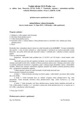Pozvánka na valnou hromadu konanou dne 13. 10. 2015