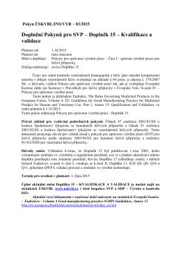 2015-VYR-03 Doplnění Pokynů pro SVP kapitola, Doplněk 15