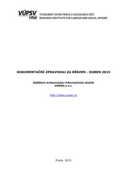 duben 2015 - Výzkumný ústav práce a sociálních věcí