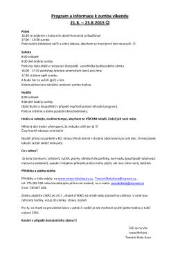 Program a informace k zumba víkendu 21.8. – 23.8.2015