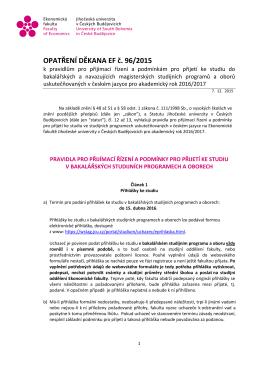 96/2015 - Ekonomická fakulta Jihočeské univerzity v Českých