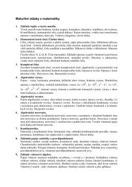 Upřesnění témat profilové části maturitní zkoušky z matematiky 2015