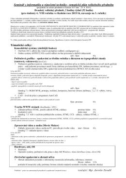 Seminář IVT 4. ročník (dvouletý