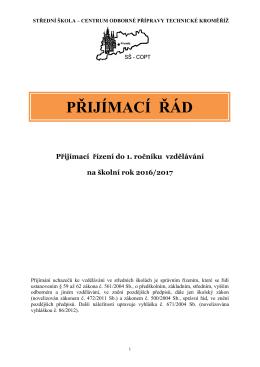 Přijímací řád SŠ - Centrum odborné přípravy technické Kroměříž