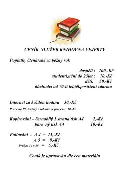 Ceník služeb knihovny