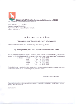 Obecní úřad Velké Karlovice, Velké Karlovice 1,75606 VEŘEJNÁ