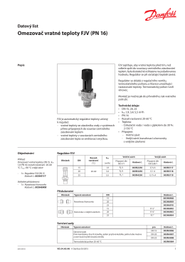 Omezovač vratné teploty FJV (PN 16)