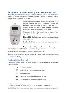 Autonomní programovatelný termostat Flame Direct