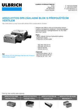argo-hytos dp6 základní blok s přepouštěcím ventilem
