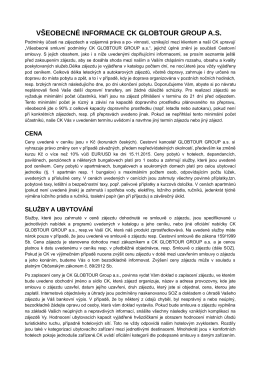 Všeobecné informace CK GLOBTOUR GROUP a.s.