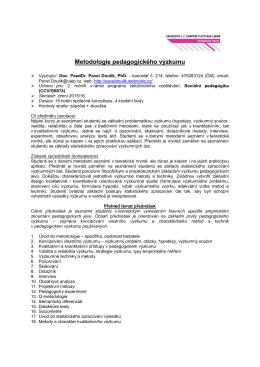 Metodologie pedagogického výzkumu – výběrový kurz