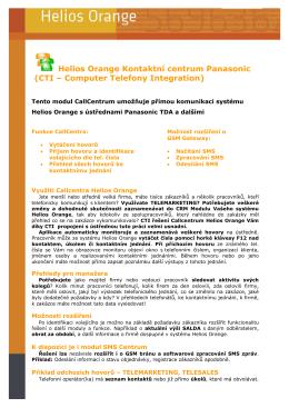 CTI Kontaktní centrum Helios Orange