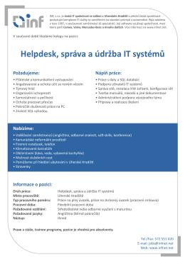 Helpdesk, správa a údržba IT systémů