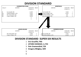 DIVISION STANDARD SUPER SIX RESULTS Eric Grauffel, FRA
